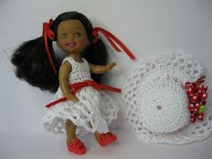 White Handmade Crochet Dress with Red Ribbons Kelly and Friends Dress. Kelly Clothes  Barbie Kelly doll, crochet dress, shoes and ribbons. by ToneyTreasures on Etsy