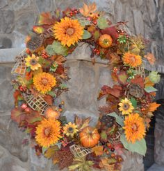 Your place to buy and sell all things handmade Wreaths For Front Door, Door Wreaths, Orange Sunflowers, Sunflower Wreaths, Autumn Wreaths, Fall Season, Harvest, Garland, Berries