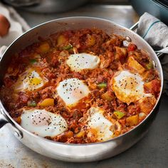 Eggs simmered in a spicy tomato sauce is a traditional dish from the Middle East. Serve with warm pita bread for soaking up all the tasty sauce.