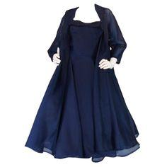 1950's Ink Blue Silk Organza Dress & Coat. Love this!