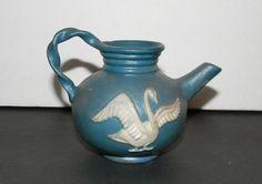 Ceramic Arts Studio Madison Wis. BH small Teapot Swan design Pottery Vintage