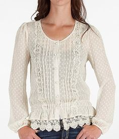 Swiss dot button-front blouse with pintucks and lace detail: posh and polished.