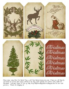 Free printable vintage christmas tags christmas tag business card big brown dog primitives free christmas tags for 2014 reheart Image collections