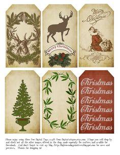 Big Brown Dog Primitives: Free Christmas Tags for 2014
