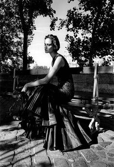 Inès in Dior, photographed by Jeanloup Sieff for Elle, Paris, 1995