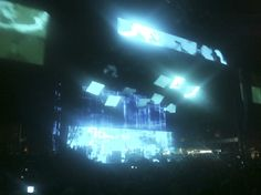 A very tiny Thom Yorke on the far away Radiohead stage.  Coachella 2012, weekend 2