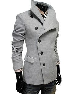 (AJK-GRAY) Mens Casual Unbalance Slim Wool Coat Jacket