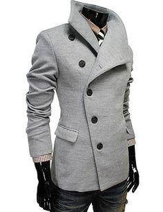 (AJK-GRAY) Mens Casual Unbalance Slim Wool Coat Jacket