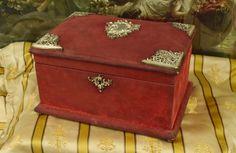 B702 - Superb Antique French Red Silk Velvet Jewel / Boudoir Box, Napoleon III, C1860
