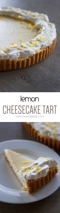 Lemon Cheesecake Tart It is a nearly perfect dessert that doesn't take to terribly long to throw together. Lots of regular, everyday ingredients that you probably will already have. Lemon Desserts, Lemon Recipes, Tart Recipes, Mini Desserts, No Bake Desserts, Sweet Recipes, Delicious Desserts, Dessert Recipes, Lemon Cheesecake