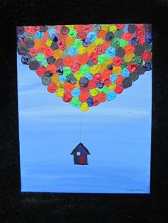 Floating House with Balloons Painting UP in the Sky.