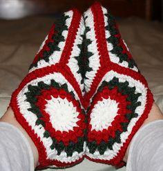 Poinsettia Hexagon Crochet Slippers by Chelsea Craft