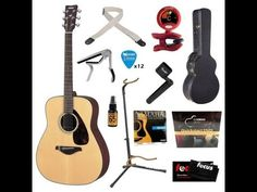 Yamaha FG700S Folk Acoustic Guitar Bundle with Hard Case, Strap, Stand, ...