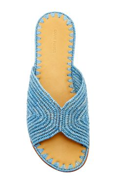 Carrie Forbes - Turquoise Salon Slip On Sandals - Swim Accessories Report Resort 2016