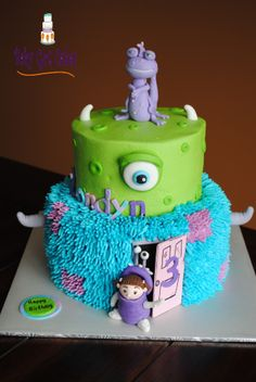 Monsters Inc Two Tier This is a 6 & 8 covered in buttercream with fondant accents. Randall & Boo are handmade from fondant. Fourth Birthday, Birthday Cake Girls, Birthday Cakes, Birthday Ideas, Monster Inc Birthday, Monster Inc Party, Monsters Inc Randall, Monster Inc Cakes, Monsters Inc Baby Shower