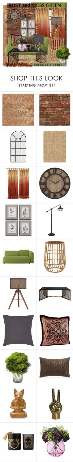 """""""color challenge: rust and moss decor"""" by jean-elizabeth-849 ❤ liked on Polyvore featuring interior, interiors, interior design, home, home decor, interior decorating, Barclay Butera, WALL, Franklin Iron Works and Dot & Bo"""