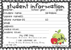 freebie printable student information card, great way to keep track of student information. Great ideas for back to school.