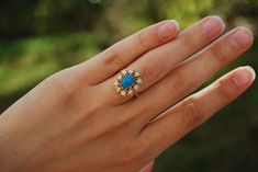 """""""Cynthia"""" 14k Yellow Gold Turquoise and Opal Halo Cocktail Ring #Cocktail"""