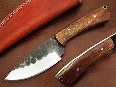 Handmade Woodsman Damascus Steel Custom Skinner Full Tang Olive Wood Handle HRC