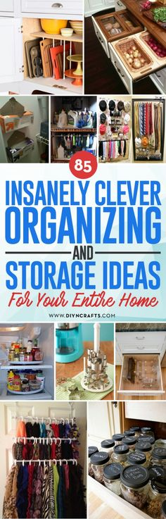 How do you organize all those bits and bobs you have lying around the house?  There's always the option of buying a thousand plastic storage totes, but maybe you don't have to.  Maybe you already have what you need right at home.  In fact, some of the disorganized items you have strewn around right now could be exactly what you need to corral the rest of the chaos.  Check out these 85 clever organizing hacks to get all your stuff in order! #home #organizing via @vanessacrafting