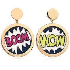 Rafida Bijoux Women Cartoon Earrings ($145) ❤ liked on Polyvore featuring jewelry, earrings, multi, leather jewelry, hand crafted jewelry, earrings jewelry, comic book and cartoon jewelry