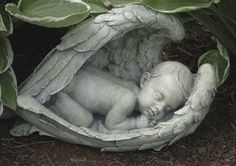 NEW! Sleeping Baby Wrapped in Angel Wings Garden Antique Look Statue Memorial