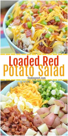 This red potato salad with bacon is loaded with flavor and perfect for your next potluck or picnic. This loaded potato salad recipe includes all your favorite baked potato fixings including sour cream, cheese and green onion but also contains a surprise i Loaded Potato Salad, Potato Salad With Bacon, Loaded Baked Potatoes, Cheesy Potatoes, Redskin Potato Salad, Potato Salad No Mayo, Mashed Potatoes, Easy Potato Salad, Healthy Meals