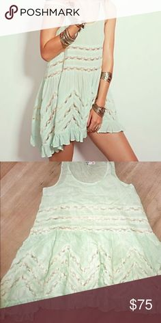 Free People Voile and Lace Trapeze Slip XS New tag cut to prevent returns 🌸Intimately Free People Voile Trapeze RARE very light Mint combo perfect for spring XS sold out Free People Dresses Mini
