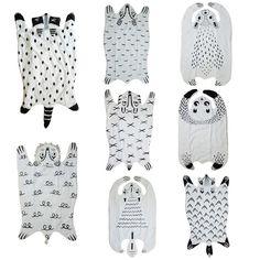 Cartoon Animals Raccoon Fox Tiger Bear Panda Lion Baby Quilted Play Mats Blanket Pad Carpet Rug Nordic Style Kids Bed Room Decor