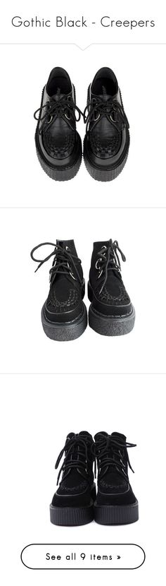 """""""Gothic Black - Creepers"""" by zakhx ❤ liked on Polyvore featuring black, gothic, creepers, shoes, flats, black platform shoes, flat pumps, flat platform shoes, platform shoes and laced up flats"""