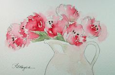 Pink Tulips Watercolor Painting Flowers Floral. $20.00, via Etsy.