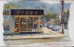 James Gurney, Phoenicia Drug Store, gouache Travel Brushes, Comic Artist, Abstract Landscape, Gouache, Art School, Colored Pencils, Illustrators, Watercolor Paintings, Drugs