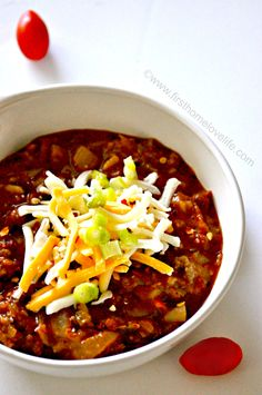 Best chili ever!!! Did it in the crockpot but only 1/3 of the recipe.