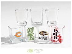 Custom Hand-Painted Glass Shot Glasses by limefishshop on Etsy, $12.00