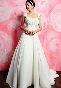 Simple Floor Length Straps A line Natural Waist Chapel Train Wedding Gown
