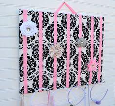 LARGE Black White Pink Damask Hair Bow by AnalisaRoseBoutique, $25.00