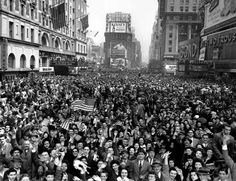 Looking north from 44th Street, Times Square is packed Monday May 7, 1945, with crowds celebrating the news of Germany's unconditional surrender in WWII.