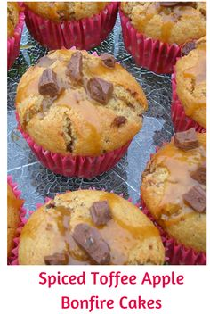 Just in time for Bonfire Night, I bring you spiced toffee apple bonfire cakes.