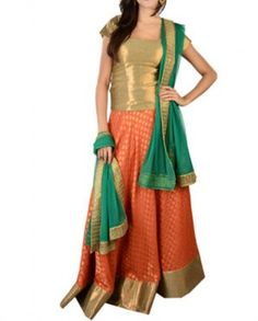 Orange, green and golden long top dotted lengha set
