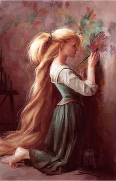 """disneyprincesscollectables:    Disney """"Rapunzel"""" Giclee. Signed and numbered by artist Claire Keane, here."""