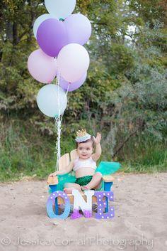 Mermaid first birthday photo shoot