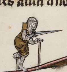 A man after our own heart - The Disabled Knight. From Beineckel Library MS.229, 1275-1300. Folio 257v. Via Damien Kempf (twitter).
