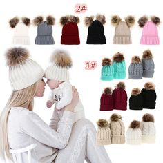 a54480dc1e2 Mom Baby Kid Warm Raccoon Fur Bobble Beanie Cotton Knitted Parent-child Hat