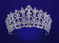 """Stunning 2 1/2"""" Tall Rhinestone Wedding and Quinceanera Tiara hp55795 in silver plating."""