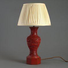 19th Century Cinnabar Lacquer Vase Lamp - Timothy Langston