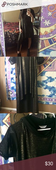 Amazing unique dress Golden/black fabric. Mesh sleeves. High-low. Hood. Super cool dress by and indie designer. Dresses High Low