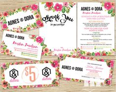 Agnes and Dora Marketing Kit, Agnes & Dora Business Card, Thank you Care card in floral design, agnes and dora bucks dollars cash coupon, best agnes and dora marketing kit / bundle / pack / package deal by MulliganDesign on Etsy