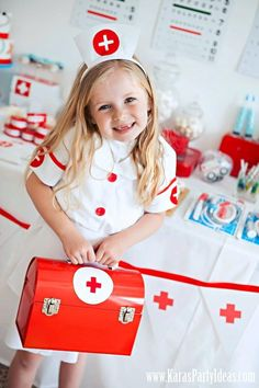 Doctor Nurse themed birthday or graduation party via Kara's Party Ideas! karaspartyideas.com #doctor #nurse #party #cake #ideas