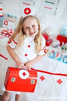 Doctor Nurse themed birthday or graduation party via Kara's Party Ideas! karaspartyideas.com #doctor #nurse #party #cake #ideas