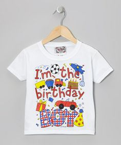Take a look at this White & Blue 'Birthday Boy Tee - Toddler & Boys by I'm Yours on #zulily today!